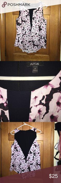 Apt 9 Flower Block Blouse Back Zip Lavender & Black Flowing  Blouse Apt. 9 Tops Blouses