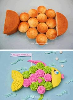 Make a fish cake with one round cake and cupcakes. Orange and pink, chocolate and white cupcakes for friend party. Baby Cakes, Pink Cakes, Fishing Cupcakes, Fishing Theme Cake, Cute Cakes, Yummy Cakes, Cute Food, Cupcake Cookies, 12 Cupcakes