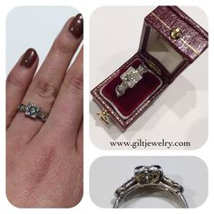 Platinum 1930's .46 carat Old European Cut diamond engagement ring. $2275. Call to purchase. #giltjewelry #platinum #diamond #engagementring #engagement #bridal #wedding #sparkle