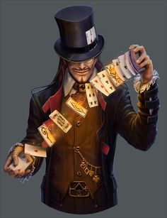 Peter and playing cards Fantasy Character Design, Character Concept, Character Inspiration, Character Art, Concept Art, Steampunk Characters, Dnd Characters, Fantasy Characters, Circus Characters
