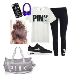 """""""Work out, and never sweat..."""" by caroline-weaver on Polyvore featuring adidas Originals, Victoria's Secret, NIKE and Mr. Gugu & Miss Go"""