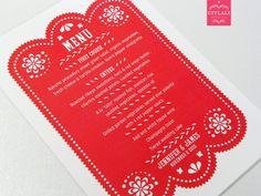 Mexican Papel Picado Wedding Menu Cards in Solid Red - Citlali Creativo LLC