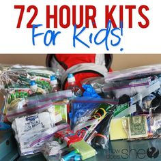72 hour kits for kids - includes a printable spreadsheet for what she includes and for you to keep track on for yourself.