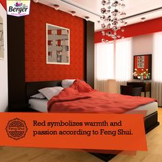 Bring some warmth and passion into your house with the colour red,says Feng Shui. Don't you think adding red to your rooms instantly makes them warmer? Feng Shui Tips For Home, Feng Shui Red, Colour Red, Rooms, Passion, Bed, House, Furniture, Home Decor
