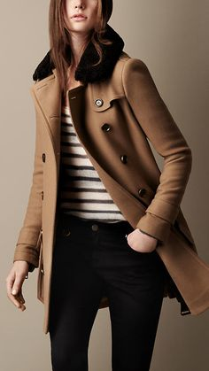 Burberry Brit Mid-Length Double Wool Twill Throat Latch Trench Coat