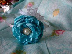 Bright Ice Blue Satin Flower Headband with by BeadLovinCreations