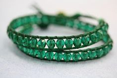 "Beading the ""Bead World"" Way: Emerald Leather Wrap Bracelet Tutorial DIY"