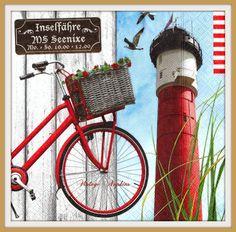 SALE *** TWO Paper napkins for DECOUPAGE - Red Lighthouse Vintage Bike #232 by VintageNapkins on Etsy