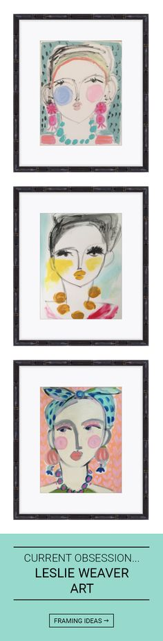 Tips + ideas for combining + framing art from Leslie Weaver. Click for more ideas.