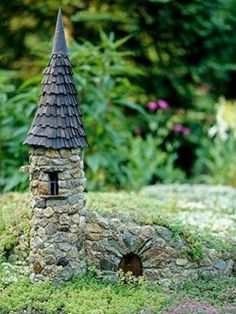 DIY fairy garden castle: Good place for frogs and beneficial insects to hide! : like the idea of a fairy garden