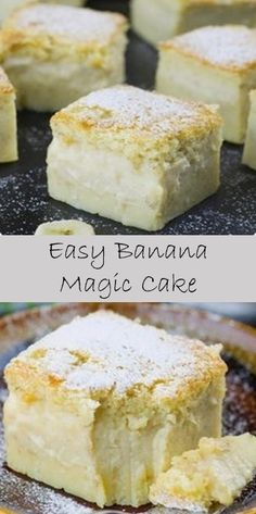 >< Easy Banana Magic Cake This dish is very sweet and delicious. The ingredients used are still very natural, so our. Magic Cake Recipes, Vegetarian Cake, Pasta Food, Keto Cake, Chock Full, My Best Recipe, Keto Bread, Healthy Cooking, Sweet Treats