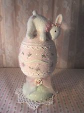shabby cute hand painted pink roses n sage easter bunny egg accent glitter
