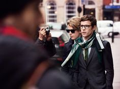 Tom Odell and Harry Treadaway, photographed by Mario Testino for Burberry, A/W 2015.