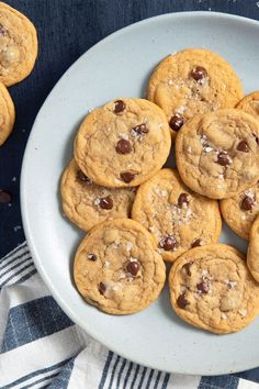 This soft and chewy chocolate chip cookie recipe is a quick and easy cookie recipe! This delicious cookie recipe incorporates vanilla, chocolate chips, sea salt, and brown sugar to create the best chocolate chip cookies. You'll love baking this dessert recipe for your friends and family!