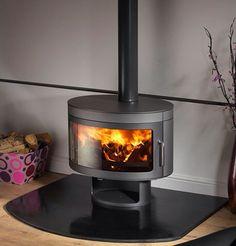 Round wood burning stove
