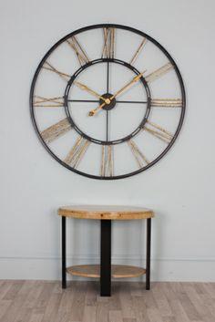 Extra Large Black Gold Iron Skeleton Wall Clock - Thomas