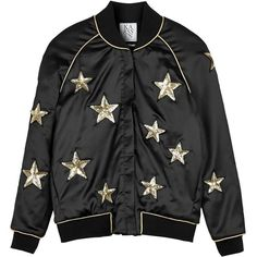 Zoe Karssen Star All Over Bomber Jacket (€195) ❤ liked on Polyvore featuring outerwear, jackets, tops, black, sequin jacket, black flight jacket, black bomber jacket, real leather jacket and retro jackets