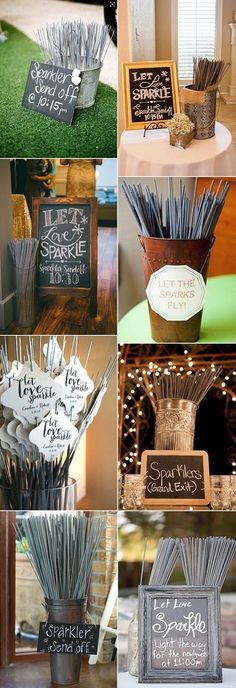 Wedding sparkler send off ideas! I love the unique decorations that each of these has - from rustic, to chic, to classic - these are all so cute! I bet they would be an easy wedding DIY craft, and the photos with these sparklers would look amazing!