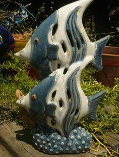 Double Angel Fish Ceramic Stutue Knick Knack Tea Candle Incense Burner Aquarium Decor $22