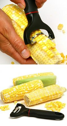 Easy Grip Corn Cutter // cuts whole rows of corn in one easy motion, uniformly & without mess or splatter.