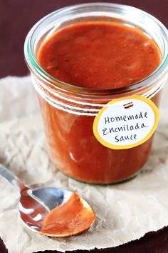 Homemade Red Enchilada Sauce - you'll never go back to the canned store-bought stuff again. The sauce is a breeze to make, calls for simple ingredients, and is insanely delicious. Now I just need to find one for the green sauce. Homemade Enchilada Sauce, Homemade Enchiladas, Red Enchilada Sauce, Homemade Sauce, Authentic Enchilada Sauce, Homemade Seasonings, Mexican Dishes, Mexican Food Recipes, New Recipes