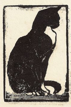 Cats in Art and Illustration: Mabel Royds Cat century Gravure Illustration, Art And Illustration, Image Chat, Black Cat Art, Linoprint, Linocut Prints, Japanese Art, Painting & Drawing, Fabric Painting