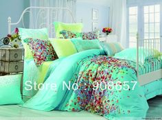 print green turquoise print cotton bedding set duvet covers for full/queen comforter