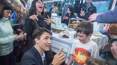 """Share or Comment on: """"CANADA: Justin Trudeau: The People's Prime Minister"""" - http://www.politicoscope.com/wp-content/uploads/2016/04/bystander-appears-overwhelmed-to-be-so-close-to-Prime-Minister-Justin-Trudeau-as-he-talks-with-children-at-the-Halfiax-Seaport-farmers-market.jpg - And yes, as Hannah Aris acknowledged after hugging Prime Minister Justin Trudeau in Halifax this weekend, he is rather pretty.  on Politicoscope: Politics - http://www.politicoscope.com/2016/04/05/ca"""