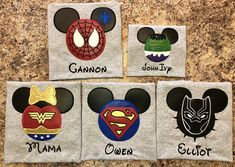 Super Hero Inspired Character Mouse Ears Shirt- Disney Characters - Any Color Shirt! Mommy/Daddy/Brother/Sister/ ANY Name!