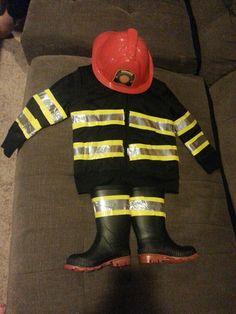 DIY Toddler Fireman Costume Duct Tape