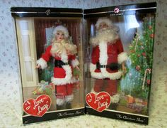 I Love Lucy Christmas Show Barbie Santa LUCY RICKY SET Lucille Ball Collectible