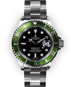 Mens Stainless Steel Black Dial Green Bezel Rolex Submariner (1275) by Rolex @Luvocracy |