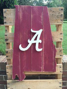 University of Alabama Crimson tide wood pallet state sign by TheStateSign.com