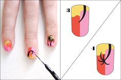 """3 Rockin' Coachella-Worthy Nail-Art DIYs #refinery29  http://www.refinery29.com/coachella-nail-art-designs#slide7  Grab your nail-art polish and draw the """"trunk"""" of your palm tree. It should be thicker at the base, so start your line there and then pull it toward the center of the nail, making it thinner as you go. Starting at the center of the nail, where your trunk ended, use the nail art brush to create five palm """"fronds.""""     Photographed by Laura Miller"""