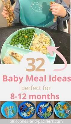 Baby food and baby meal ideas for 8-12 month old pre-toddlers. Serve these foods for baby-led weaning (BLW) or traditional weaning babies that are a bit older or who have moved on to solid foods. I'm a mom of two and am sharing everything that my babies have eaten from 8-12 months for meal time inspiration. Baby Led Weaning First Foods, Baby First Foods, Baby Weaning, Baby Foods, Toddler Meals, Kids Meals, Meals For Babies, Recipes For Babies, Baby Meals