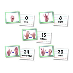 American Sign Language Cards, Numbers Photos of hand signs teach students ASL counting Photo cards include numbers hand signs & the numeral, word, and counting block pattern on the back. Sign Language Games, Sign Language For Toddlers, Sign Language Chart, Sign Language Phrases, Sign Language Interpreter, Learn Sign Language, British Sign Language, Libra, Native Symbols