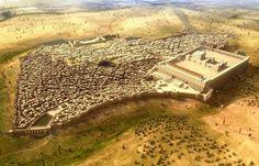 Aerial View of Ancient Jerusalem by Jochen Stuhrmann Ancient Near East, Ancient Rome, Ancient History, Fantasy City, Fantasy Castle, Historical Architecture, Ancient Architecture, Heiliges Land, Friedrich Ii
