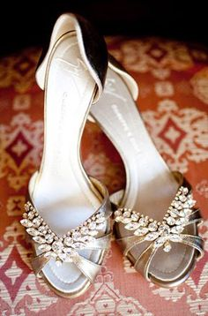 silver d'orsays with rhinestone criss cross toe