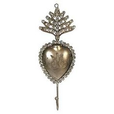 Tin Sacred Heart Hook with Crystals