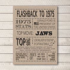 SALE 1975 Poster, 40th birthday, Flashback to 1975, 1975 stats, 40th birthday Poster, 40th Birthday Card, DIGITAL FILE