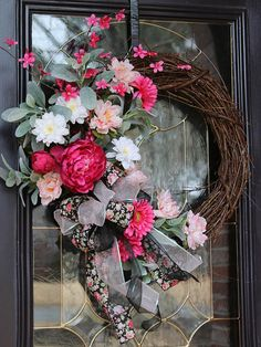 Shabby Chic Spring wreath for front door Rustic Farmhouse