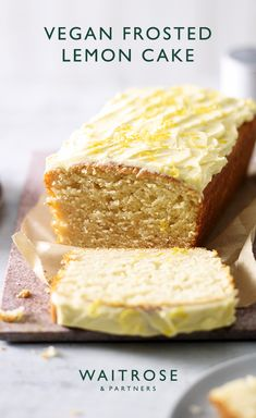 Our vegan loaf bursts with zingy citrus flavours. Ready in under an hour, this fluffy frosted lemon cake makes a great vegan treat, particularly with a cup of tea. Tap for the full Waitrose & Partners recipe. Cake Recipes Uk, Cake Recipes From Scratch, Frosting Recipes, Sweet Recipes, Dessert Recipes, Baking Recipes Uk, Citrus Cake, Lemon Tea Cake, Vegan Whole30 Recipes