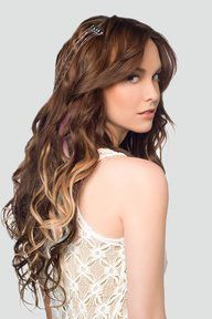 This is what I want my hair too look like: Silky, sleek, wavy, layered, curls with ombre highlights of blond! + Bangs