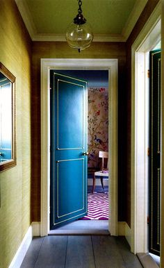 Great colors Leather door with nailhead details Madeline Weinrib Plum Lupe Cotton Carpet, via House Home Magazine Hollow Core Doors, Interior Design Inspiration, Design Ideas, Bar Designs, House And Home Magazine, Cottage Homes, Elle Decor, Home Renovation, Home Projects