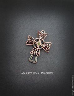 Купить Крест с хризолитом - украшения, крест, подвеска, кулон, медный крест, кельтский крест