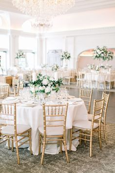Classic wedding reception style with golden chairs white table linenes and white and green centerpieces Elegant wedding reception decor garden roese and greenery ballroom wedding weddingreception Wedding Reception Ideas, Wedding Receptions, Diy Wedding, Ballroom Wedding Reception, Wedding Summer, Budget Wedding, Wedding Trends, Wedding Planning, Rustic Wedding