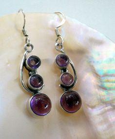 Vintage Amethyst Earrings 3 Stone Natural Amethyst Sterling Earrings