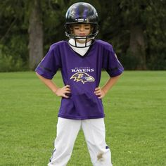 NFL® Deluxe Uniform Set - Baltimore Ravens - Your little football fan can look like a real gridiron warrior wearing this official NFL® uniform set! Included is an official home team jersey, team helmet with authentic logo and team colors and team pants that will have them looking ready to take the field. The set also includes iron-on numbers (0-9) for the back of the jersey. Makes a great Halloween costume! - See more at: http://franklinsports.com/shop/nfl-deluxe-uniform-set