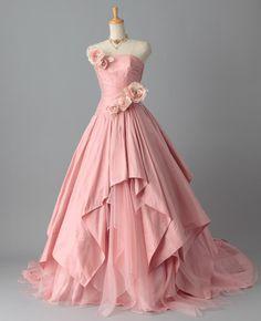 カラードレス Aライン ビスチェ タフタ チュール ピンク 花嫁ドレス 披露宴 挙式  pcaj0007