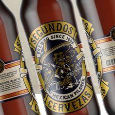 Segundos Cervezas label design by Suckerpunch. #suckerpunch #knockoutidentity #logodesign #branding #corporateidentity #capetown #graphicdesign #typography #lettering #brandingagency #designstudio #type #capetown #johannesburg #southafrica #taste #beerlabel #whisky #illustration #marula #lager #pilsner #packaging #cerveza #mexico #labeldesign #mexican #beer #craftbeer Label Design, Logo Design, Graphic Design, Mexican Beer, Typography, Lettering, Branding Agency, Beer Label, Best Beer